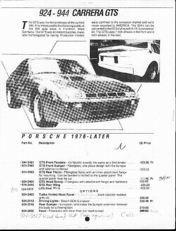 Porsche 924 928 944 968 Catalogue